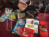 childs nearly full size pram and assortment of games
