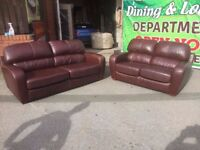 VERY GOOD CONDITION REAL LEATHER 3+2 SOFA TAN BROWN CAN DELIVER