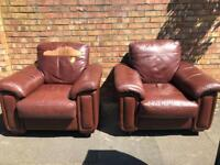 Vintage retro Midcentury pair of brown leather lounge chair