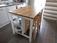 Kitchen island dining table, solid pine with 4 pine bar stools
