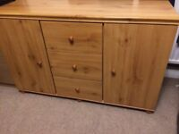 Pine Effect Sideboard with two cupboards and three drawers