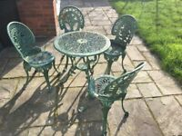 Green Outdoor Character Garden Table and 4 Chairs