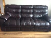 Dark brown Leather Suite Sofa Recliner Living room lounge furniture