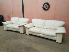 Two lovely condition leather sofas 3 & 2 seater Genuine Leather Extremely Clean Delivery Possible