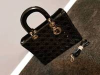 Brand New Dior Bag Gloss Black with strap Large size Woman's Hand Bag