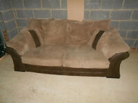 Fabric / leather brown 3 seater sofa