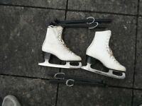 Lady's white leather skating boots. Size 4/37