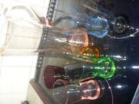 Retro set of six coloured glass and jug