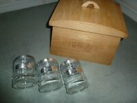 Large Wooden Bread Bin and Coffee/Sugar/Tea Containers