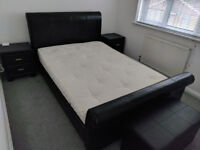 Double Faux Leather Sleigh Bed, Leather Side Cabinets & Ottoman With Mattress