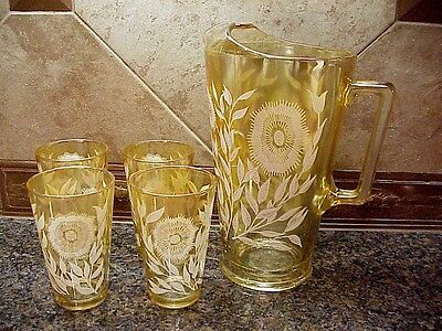 Vintage Pitcher Drinking Glasses Jeanette Iridescent Mosmos Marigold 1940's