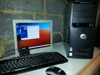 Dell p.c with free monitor wireless keyboard and mouse