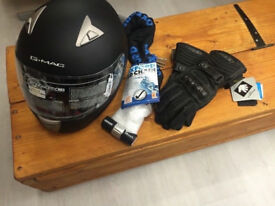 GREAT DEAL!, HELMET, GLOVES AND OXFORD CHAIN!!