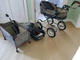 Dolls pram, cot and car seat set
