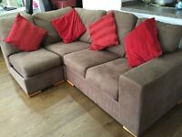 2 seater & 4 seater left hand facing corner sofa with chaise & matching foot stool