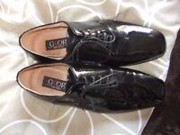 mens black patent evening shoes size 9 uk