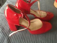 Italian Red Paten Shoes - size 39 / uk6