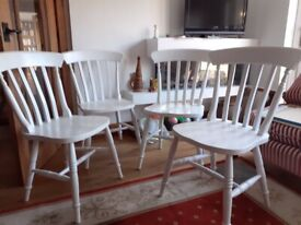 Set of 4 spindle back cottage style kitchen chairs