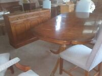 dining table , side unit and 8 chairs