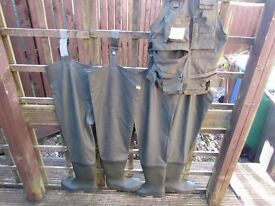 Two Pairs Of Barbour Fishing Waders Size 9 And 6.5 And Small Fishing Vest
