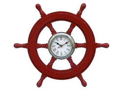 Ships Steering Wheel Red 18 w/ Chrome Clock Wooden Nautical Hanging Wall Decor