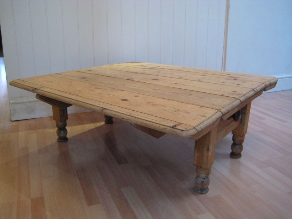 Lovely Antique Solid Old Pine Coffee Table With Drawer Drop Leaf Extending Made