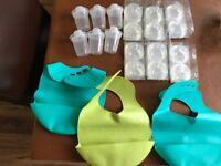 Bargain Tommee Tippee Feeding bundle teats, bibs, milk powder dispenser