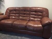 Brown leather sofa. Set of two. Welling plumstead Bexleyheath