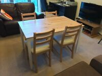 Dinner table and 4 chairs (IKEA LERHAMN)