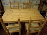 Pine Dining Table and 4 x Chairs with Cushions (IKEA)