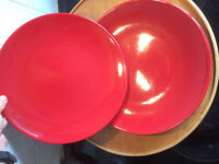 Two large red plates