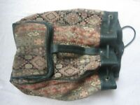 Duffle bag with patterned fabric exterior & dark green trim, very good condition
