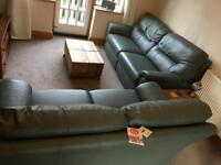 G Plan Leather Two and Three Sofa Set