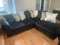 Crushed velvet corner sofa and arm chair