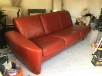100% leather red sofa