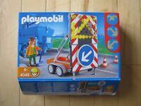 Playmobil Flashing LED Road Sign & Trailer - 4049