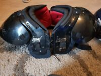 american football shoulder pads, helmet, Jersey and bottoms