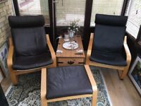 2 Ikea poang armchairs and footstool, leather cushions