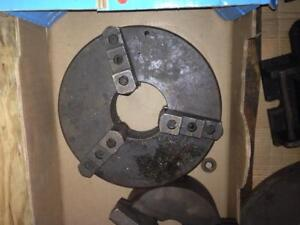"Lathe chuck, 12"" 3 jaw chuck, 4-1/4"" hole thru, 3.5"" thick, no bp,  bolt on jaws"