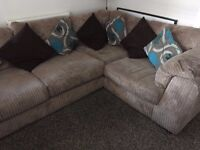 DFS LARGE CORNER SOFA AND LARGE ARMCHAIR +FOOTSTOOL