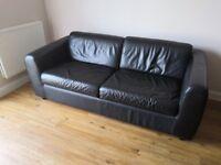 Black leather sofa, great quality sleep sofa from Habitat