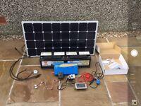 Photonic universe 100W solar panel, 1000W pure sine inverter, two Yuasa pro 100ah batteries etc.