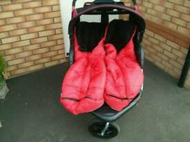 Double Buggy with foot muffs