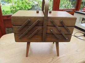 Vintage Cantilever wooden needlework box