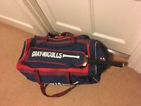 Cricket bag, bat and helmet