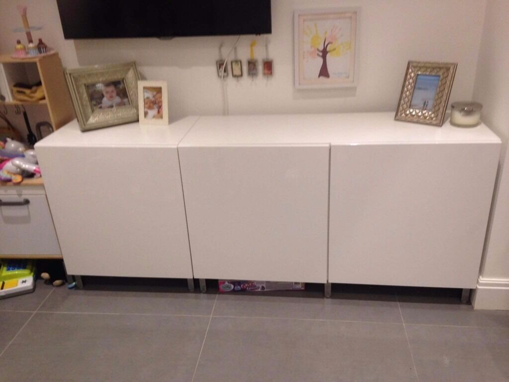 ikea white gloss finish storage unit sideboard in