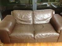 Brown 2 seater leather sofas