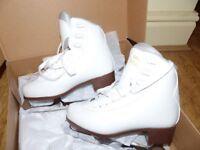 Graf 'Bolero Gold' White Ice Skates Size 36