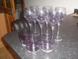 Purple Crackle Glassware set