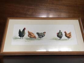 Water colour original signed hens painting